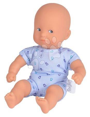 Bábiky od 18 mesiacov - Bábika Mini Calin Blue Corolle s modrými očami a v modrých vzorovaných šatočkách 20 cm od 18 mes