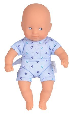 Bábiky od 18 mesiacov - Bábika Mini Calin Blue Corolle s modrými očami a v modrých vzorovaných šatočkách 20 cm od 18 mes_1