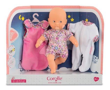 Panenky od 18 měsíců - Panenka Mini Calin Good Night Corolle s modrýma očima pyžamem a vakem na spaní 20 cm od 18 měs