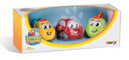 Autíčka - Vroom Planet autíčka 3 druhy Smoby stavbárske, záchranárske a osobné autíčko od 12 mes
