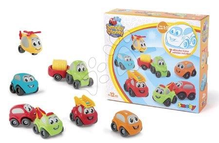 Autíčka a trenažéry - Autíčka Vroom Planet Collector Box Smoby s traktorem 7 kusů pracovní a osobní od 12 měsíců