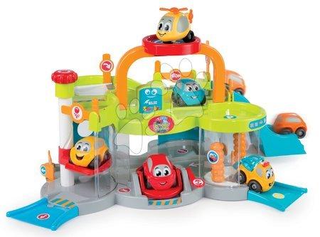 Autíčka a trenažéry - Patrová garáž Vroom Planet Premier Smoby s 2 autíčky a autoumývárnou od 18 měsíců