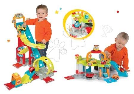 Autíčka a trenažéry - Set autodráha Mega Jump Vroom Planet Smoby skákající a patrová garáž s myčkou aut od 18 měsíců