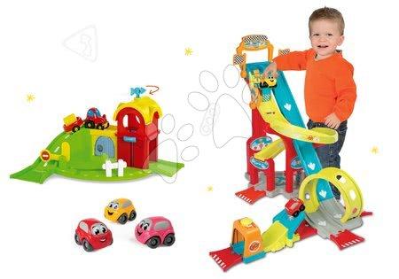 Set skákajúca autodráha Vroom Planet Mega Jump Smoby a poschodová garáž Farma a 3 autíčka od 18 mes