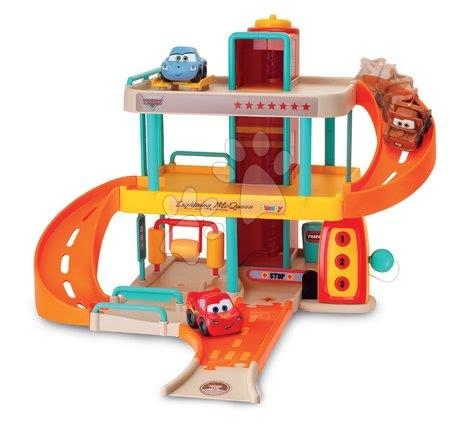 Autíčka a trenažéry - Patrová garáž s autíčkem Vroom Planet Cars Smoby elektronická s výtahem a automyčkou od 18 měsíců