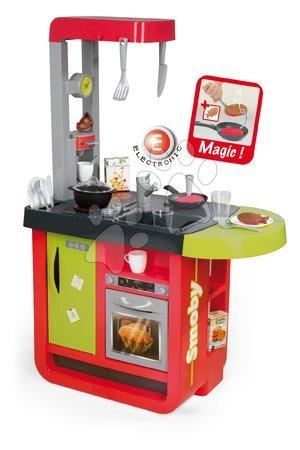 Kuchynka pre deti Cherry Special Smoby elektronická so zvukmi, s jedálňou, kávovarom a 25 doplnkami červeno-zelená