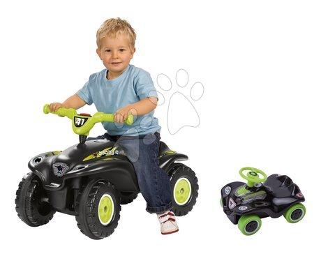Odrážadlá - Set odrážadlo štvorkolka Quad BIG s klaksónom čierne a autíčko New Mini Bobby na naťahovanie