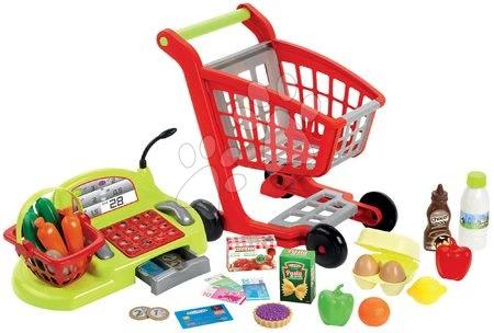 Supermarteturi pentru copii - Cărucior Écoiffier pentru cumpărături si casă de marcat 100% CHEF cu alimente de 44 bucăţi de la 18 luni