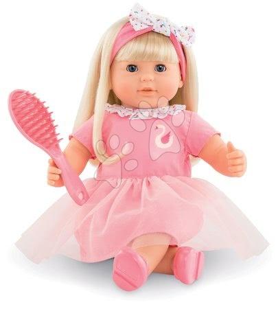 Corolle - Păpușă de jucărie Adele cu păr blond Mon Grand Poupon Corolle 36 cm cu ochi albaștri, care clipesc și piaptăn de lemn de la 3 ani