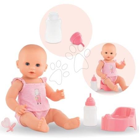 Corolle - Păpușă de jucărie Emma bea, face pipi și baie Mon Grand Poupon Corolle 36 cm cu ochi albaștri, care clipesc și 3 accesorii de la 24 de luni