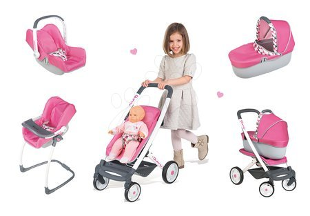 Panenky pro děti - Set kočárek pro panenku 7v1 retro Maxi Cosi&Quinny Smoby (rukojeť 65,5 cm) a židle s houpačkou a autosedačkou
