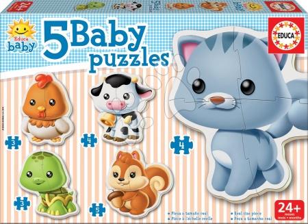 Hračky pro nejmenší - Baby puzzle Zvířátka s kočičkou Educa 5obrázkové od 24 měsíců