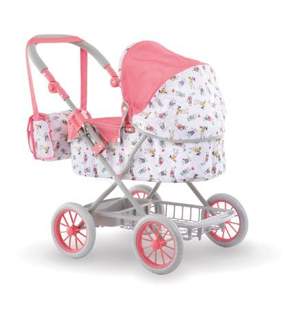 Globoki voziček Carriage Mon Grand Poupon Corolle zložljiv za 36-52 cm dojenčka po višini nastavljiv s torbo od 3 leta