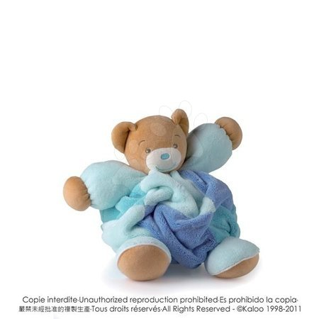 Plyšoví medvědi - Plyšový medvídek Plume-Patchwork Blue Bear Kaloo s chrastítkem 30 cm v dárkovém balení pro nejmenší modrý