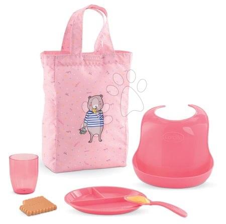 Dodatki za punčke in dojenčke - Jedilni set s torbo in slinčkom Meal Set Mon Grand Poupon Corolle z dodatki za 36-42 cm dojenčka od 24 mes
