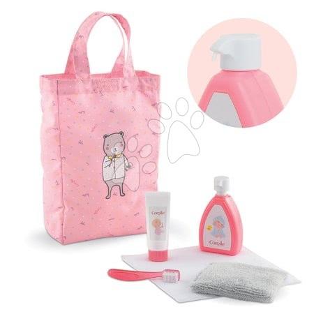 Dodatki za punčke in dojenčke - Kozmetična torbica Baby Care Mon Grand Poupon Corolle s 6 dodatki rožnata za 36-42 cm dojenčka od 24 mes