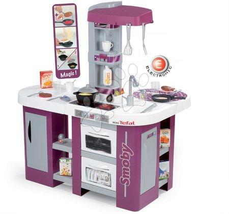 Detská kuchynka Tefal Studio XL Smoby elektronická so zvukmi, s jedálňou, chladničkou a 36 doplnkami fialovo-strieborná