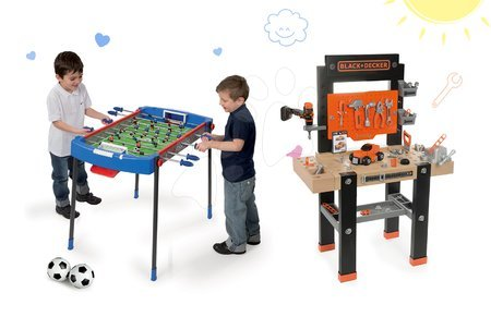 Black & Decker - Set pracovní dílna Black+Decker Smoby s vrtačkou a fotbalový stůl Challenger s 2 míčky