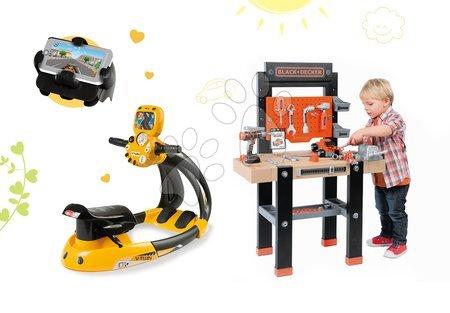 Set detská pracovná dielňa Black+Decker Smoby s vŕtačkou a elektronický trenažér Vtwin Biker