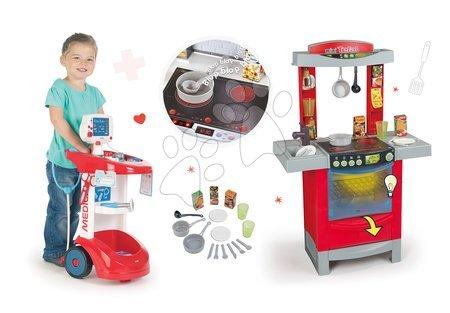 Akce - Set lékařský vozík zvukový Smoby s tlakoměrem, elektronická kuchyňka Cook'Tronic Tefal