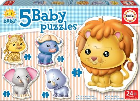 Hračky pro nejmenší - Baby puzzle Zvířátka z džungle Educa 5obrázkové od 24 měsíců