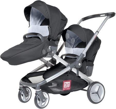 Red Castle - Kočárek Evolutwin® pro dvě děti Red Castle černý polohovatelný s kompletní výbavou a pláštěnkou od 0 měsíců