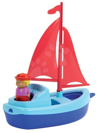 Articole de ștrand - Barcă cu pânză şi marinar Écoiffier (lungime de 24,5) roşu-albastru de la 18 luni