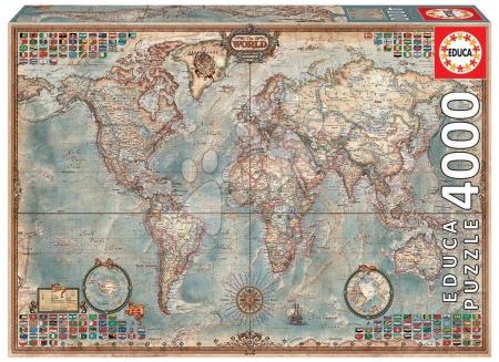 Igračke za sve od 10 godina - Puzzle The World Executive Map Educa 4000 dijelova od 15 godina