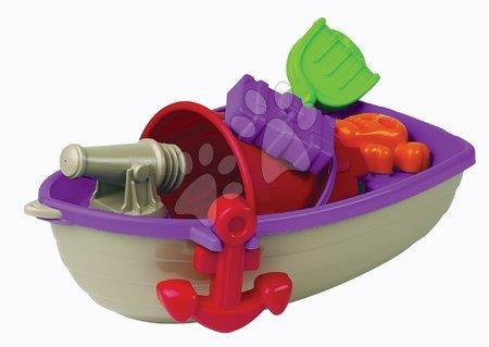 Vapoare pentru nisip - Barcă mică de piraţi cu set de găleată Écoiffier 6 piese (40 cm lung) mov-gri de la 18 luni