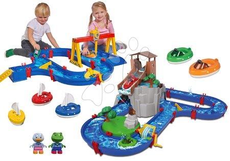 Set vodní dráha Adventure Land AquaPlay dobrodružství pod vodopádem a ContainerPort s jeřábem a loďkami