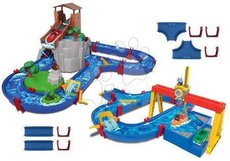 AquaPlay - Set vodní dráha Adventure Land AquaPlay dobrodružství pod vodopádem a ContainerPort s jeřábem a náhradními díly