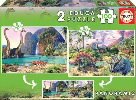 Puzzle panoramatické Dino Educa 2x100 dielov od 5 rokov