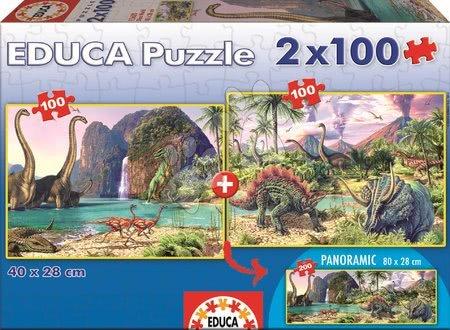 Panoramske puzzle - Puzzle Dino Educa 2x100 delov od 5 leta_1