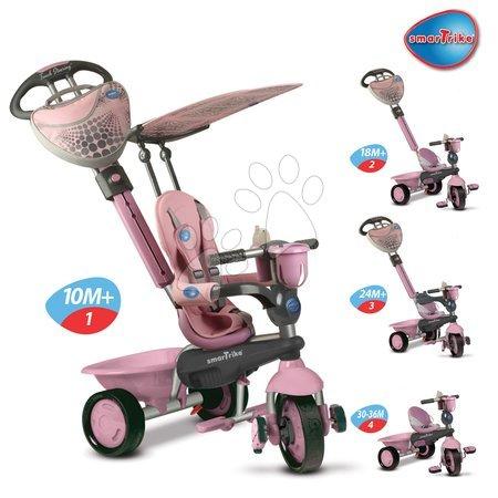 Tříkolka ZOO-Galah 4v1 smarTrike TouchSteering New růžová s gumovými kolečky od 10 měsíců
