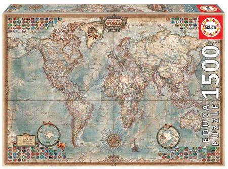 1500 darabos puzzle - Puzzle Politikai világtérkép Educa 1 500 db