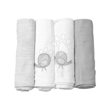 160104 plienky bavlnené super jemné toT's-smarTrike EXTRA veľkosť šedé vyšívané 4 kusy 100% prírodná bavlna