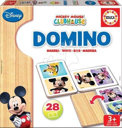 EDUCA 16037 Domino drevené Mickey a Minnie Mouse, 28 ks, od 3 rokov, 23*23*5 cm