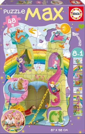 Puzzle za otroke - Otroške puzzle Giant Princeska in vitez Educa 48 delov