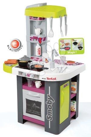 Detská kuchynka Tefal Studio BBQ Smoby elektronická so zvukmi, s opečenými potravinami, grilom a 29 doplnkami zeleno-fialová