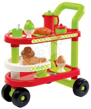 Riadíky a doplnky kuchynky - Servírovací vozík s raňajkami 100% Chef Écoiffier s croissantom a vajíčkom s 23 doplnkami