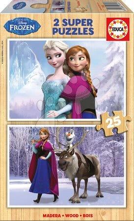 Drevené puzzle Frozen Ľadové kráľovstvo Educa 2x25 dielov