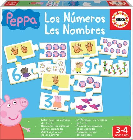 Náučná hra Učíme sa Čísla Peppa Pig Educa s obrázkami a počtami 40 dielov
