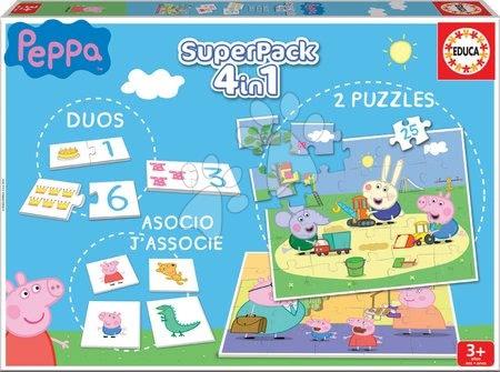 Puzzle domino a pexeso Peppa Pig Disney Superpack 4v1 Educa