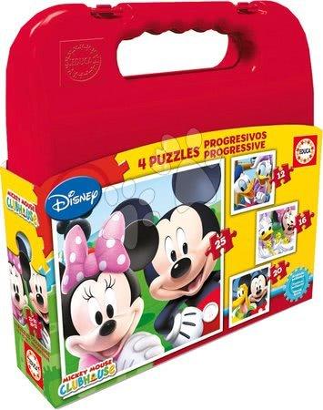 Progresivní dětské puzzle - Puzzle Mickey Mouse v kufříku Educa progresivní 25-20-16-12 dílů od 24 měsíců