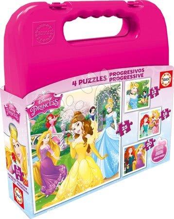 Progresivní dětské puzzle - Puzzle Disney Princezny v kufříku Educa progresivní 25-20-16-12 dílů od 24 měsíců