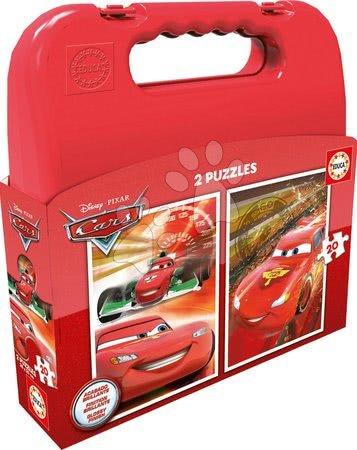 Detské puzzle do 100 dielov - Puzzle Autá 2 Educa v kufríku 2x 20 dielov