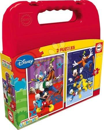 Detské puzzle do 100 dielov - Puzzle Mickey Mouse Club House Educa v kufríku 2x 20 dielov