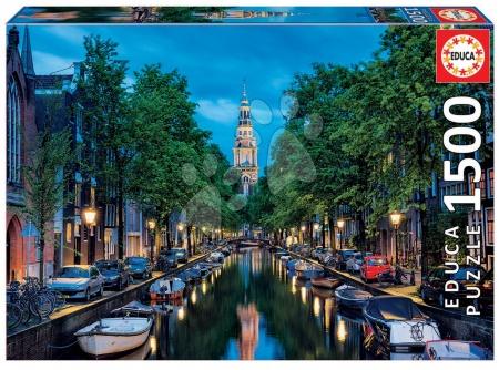 Puzzle Genuine Kanal Amsterdama v somraku Educa 1500 delov