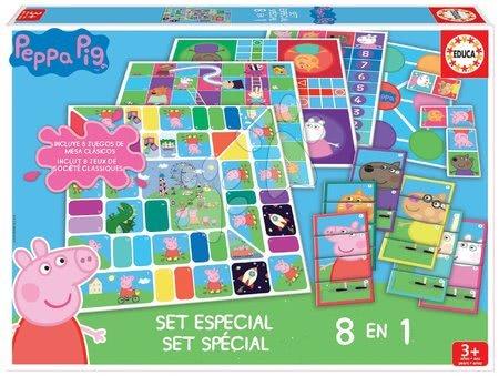 Spoločenské hry Peppa Pig 8v1 Special set Educa po anglicky od 4 rokov