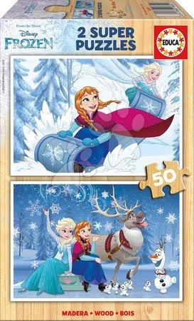 Fából készült Disney - Fa puzzle Frozen Educa 2x50 db 5 évtől